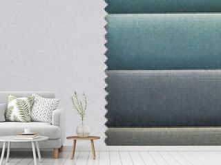 Color background of blue tones fabric samples