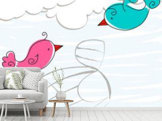 Cute birds in love illustration