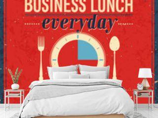 Vintage Bussiness Lunch Poster. Vector illustration.