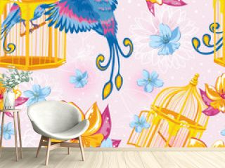 Dream seamless pattern with birds and golden cages