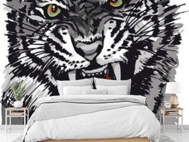 Sketch of tiger. Vector illustration