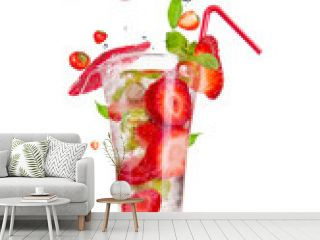 Strawberry mojito drink with falling strawberries