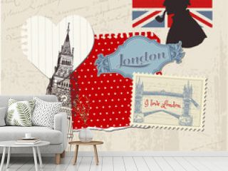 Scrapbook Design Elements - London Vintage Set - in vector