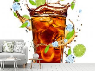 Fresh cola drink with limes. Isolated on white background