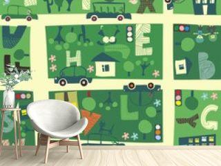 find alphabet on a seamless cartoon map