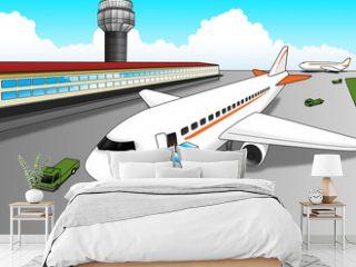 Cartoon illustration of airport