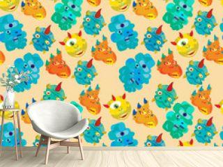 colorfull monster seamless pattern