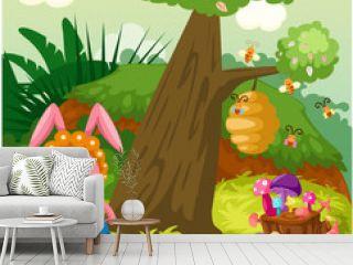 Cute rabbit in the jungle
