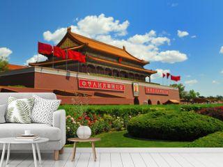 China's flag construction Tiananmen Gate