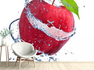 Red apple with water splash, isolated on white background