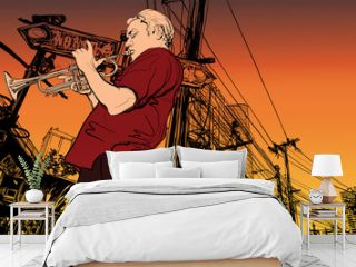 trumpeter on a cityscape background