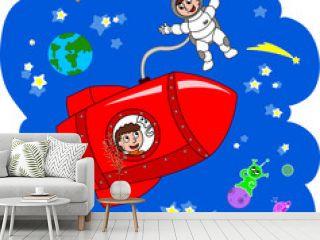 Navetta spaziale con astronauti e gatto viaggia fra le stelle