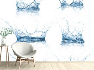 Water splashes collection over white