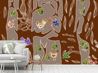 Seamless Background with funny birds and tree