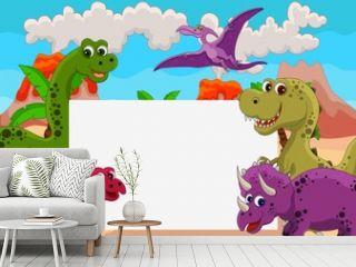 funny dinosaur cartoon with blank sign