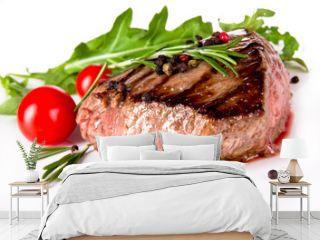 Delicious beef steak, medium grilled