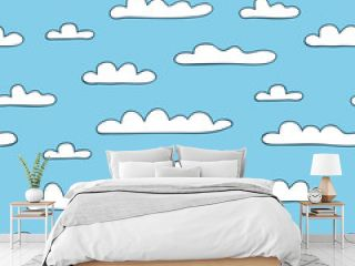 Seamless cloudy background. Vector illustration