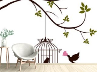 bird are bringing love to the bird in the cage