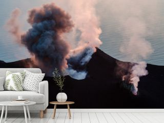 Smoking erupting volcano on Stromboli island, Sicily