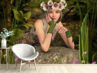 White Poppy Girl 3D Computer Graphics