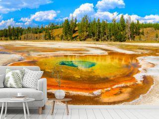 Chromatic Pool Panorama, Yellowstone National Park, Upper Geyser
