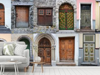 Set of colorful wooden doors and gates from old town of Tallinn
