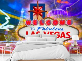 Welcome to Fabulous Las Vegas sign sunset with Strip