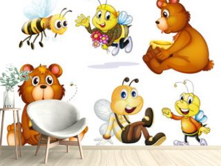 Two bears and four bees
