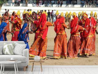 Indian girls dancing at Pushkar camel fair