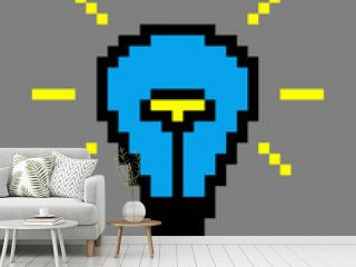Pixel art. Blue light bulb on a gray background