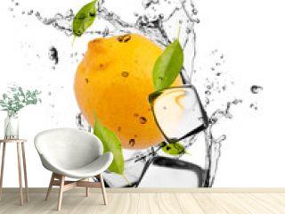 Lemon with ice cubes, isolated on white background