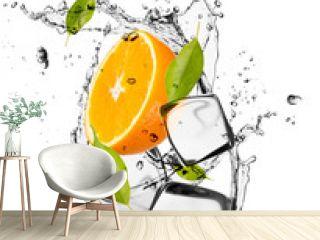 Orange with ice cubes, isolated on white background