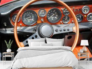 steering wheel interior of old vintage car
