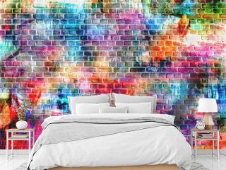 colorful grunge art wall illustration