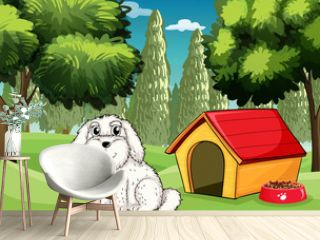 A white puppy outside his doghouse
