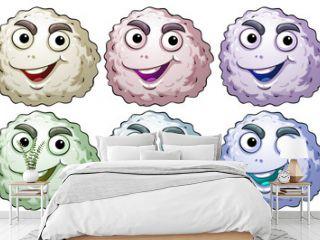 Six smiling heads