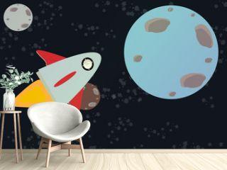 nave espacial cruzando el espacio vector