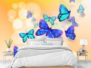 A wallpaper design with butterflies