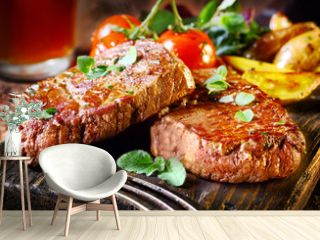 Succulent fillet steak and roast vegetables