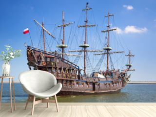 Pirate galleon ship on the water of Baltic Sea in Gdynia, Poland