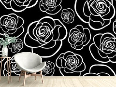 Seamless pattern with roses contours. Vector illustration.