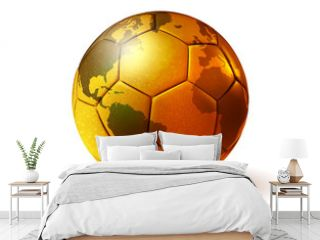 gold soccer ball with world map