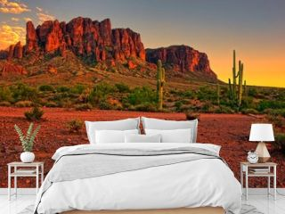 Desert sunset with mountain near Phoenix, Arizona, USA