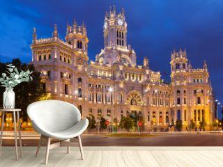 Palacio de Cibeles in summer dusk. Madrid