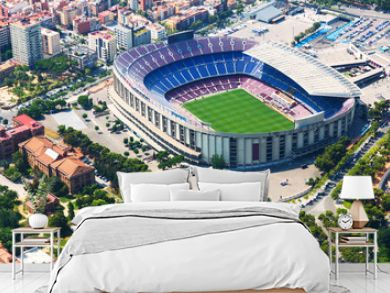 Largest stadium of Barcelona from helicopter. Catalonia