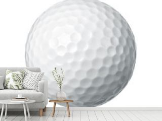 Close up of a golf ball isolated on white background
