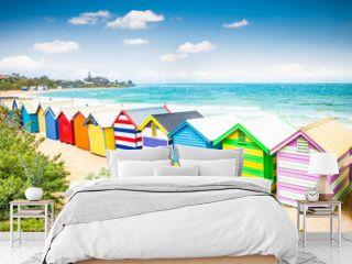 Beautiful Bathing houses on white sandy beach at Brighton beach,