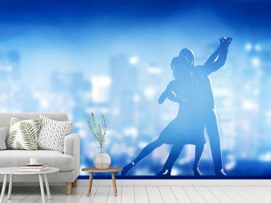 Romantic couple dance. Elegant classic pose. City nightlife