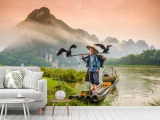 Cormorant FIsherman in Guilin, China on the Li River.