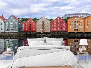 Summer panorama landscape of Trondheim city architecture